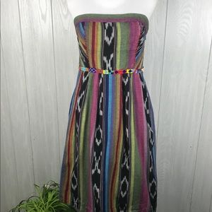 Anthro Edme & Esyllte boho strapless beaded dress